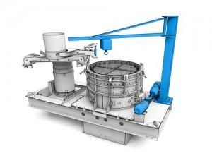 Für die RPMX sind Optionen und Zubehör (blau) erhältlich, zum Beispiel das elektrohydraulische Öffnen  des Deckels, eine Luftkanone zur Reduzierung von Anbackungen im Auslaufbereich oder ein Kran für  das einfache Wechseln von Verschleißteilen (Foto:  BHS-Sonthofen GmbH)