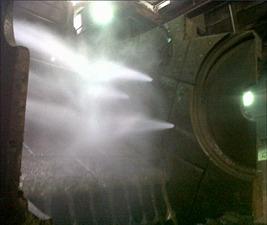 Die Metso-Wassereindüsung mit Hochdruck in den Shreddermahlraum kann Partikel noch  besser binden (Foto: Metso Germany GmbH)