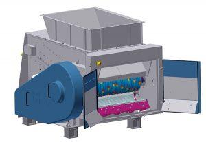 Der Siebkorb (lila) der Maschine ist nach  unten abklappbar (Foto: BHS-Sonthofen GmbH)